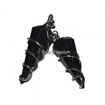 Black Tourmaline  Double Terminated Wire Wrap Pendants