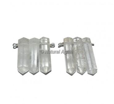 Crystal Quartz Pencil Wrap Pendants