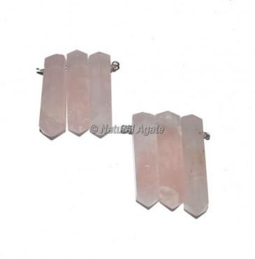 Rose Quartz Wire Wrap Pencil Pendants