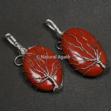 Red Jasper Natural Wire Wrap Oval Pendants