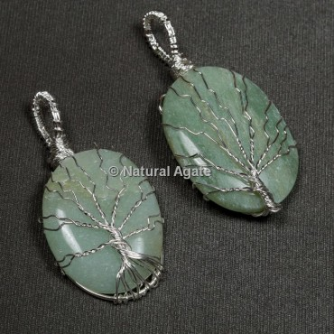 Green Aventurine Natural Wire Wrap Oval Pendants