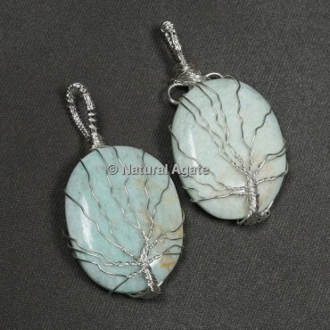 Amazonite Natural Wire Wrap Oval Pendants