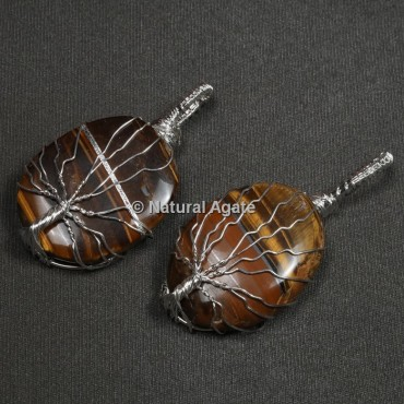 Tiger Eye Natural Wire Wrap Oval Pendants