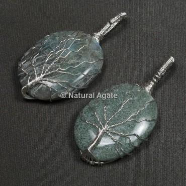 Labradorite Natural Wire Wrap Oval Pendants