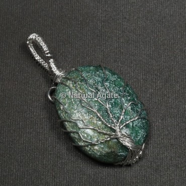 Green Jade Natural Wire Wrap Oval Pendants
