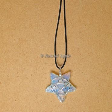 Wire Wrap Opalite Star Pendants