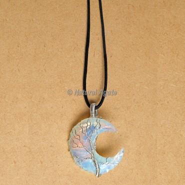 Wire Wrap Opalite Moon Pendants