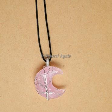 Rose Quartz Wire Wrap  Moon Pendants