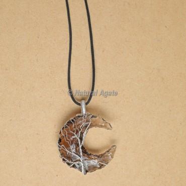 Wire Wrap Glass Moon Pendants