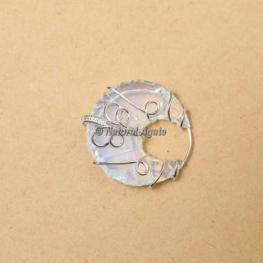 Opalite Wire Wrap Moon Pendants