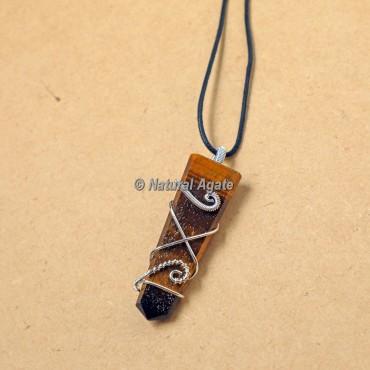 Tiger Eye Wire Wrap Flat Pencil Pendants