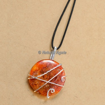 Peach Aventurine Wire Wrap Pendants