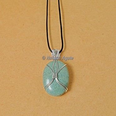 Grey Aventurine Wire Wrap Oval Pendants