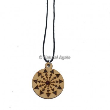 Engraved Triangle Symbol Wooden Pendants
