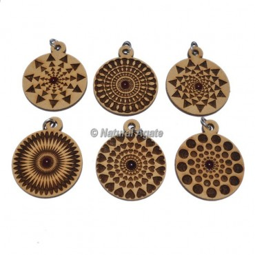 Mix Assorted Engraved Wooden Pendants