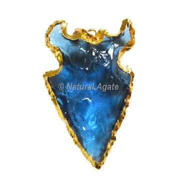 Aqua Glass Arrowhead Pendants