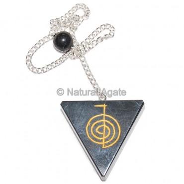 Black Agate Triangle Choko Reiki Pendulums