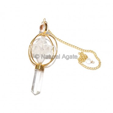 Crystal Quartz Merkaba Pendulums  with Gold Plated