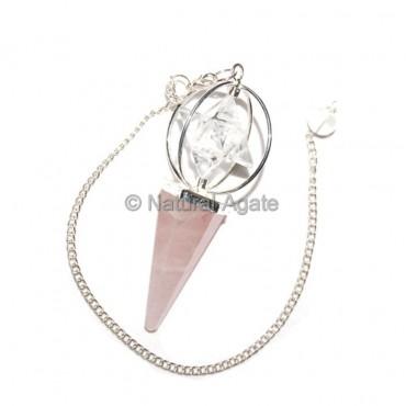 Rose Quartz Faceted Pendulums with Merkaba Star