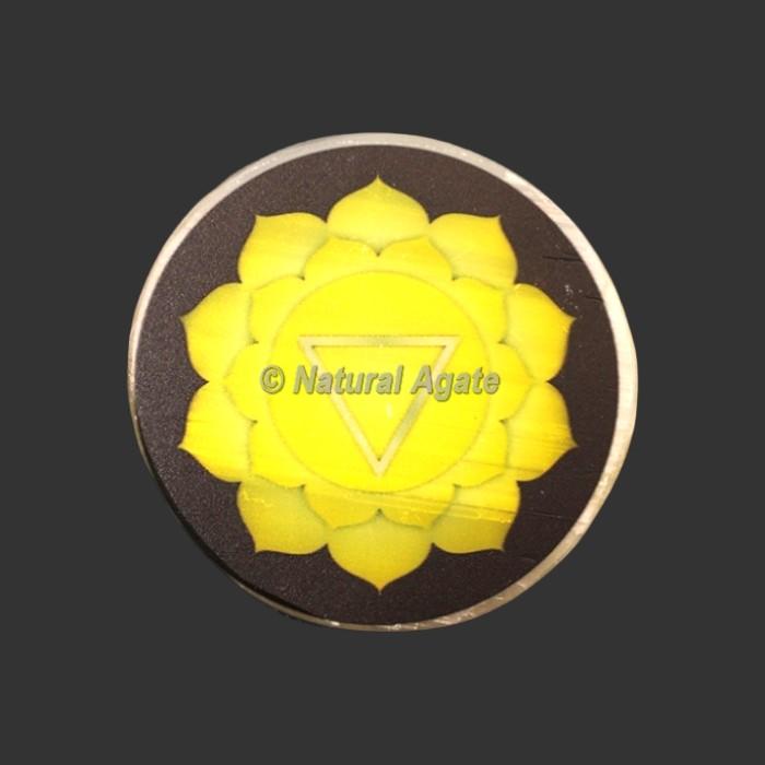 Solar Plexus Chakra Printed Selenite Charging Plate/Coaster
