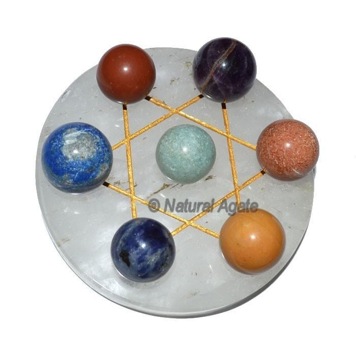 David Star 7 Chakra Ball with Crystal Base