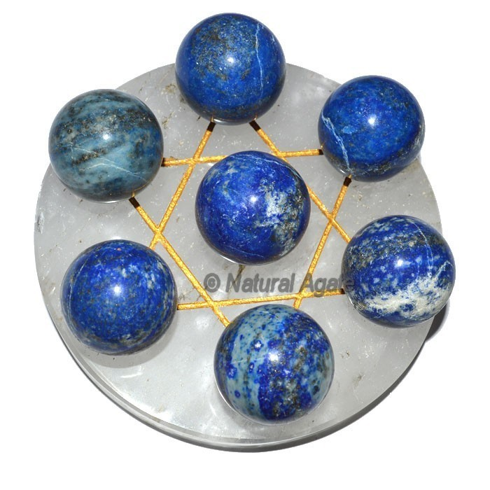 7 Lapis Ball with Crytal Gold David Star Base