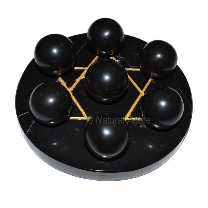 7 Black Agate Ball with BlackGold David Star Base