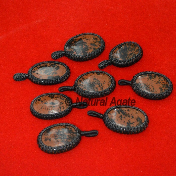 Red And Black Spotted Jasper Wrap Pendants