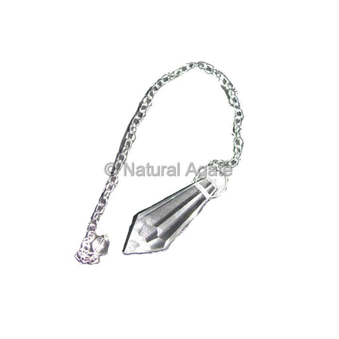 Crystal Quartz Faceted Point Pendulums